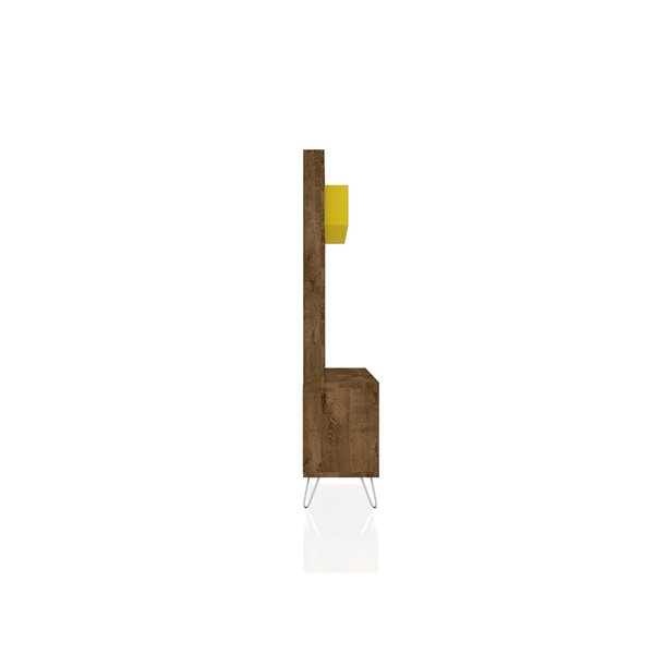 Manhattan Comfort Baxter Entertainment Center- 53.54-in - Rustic Brown and Yellow