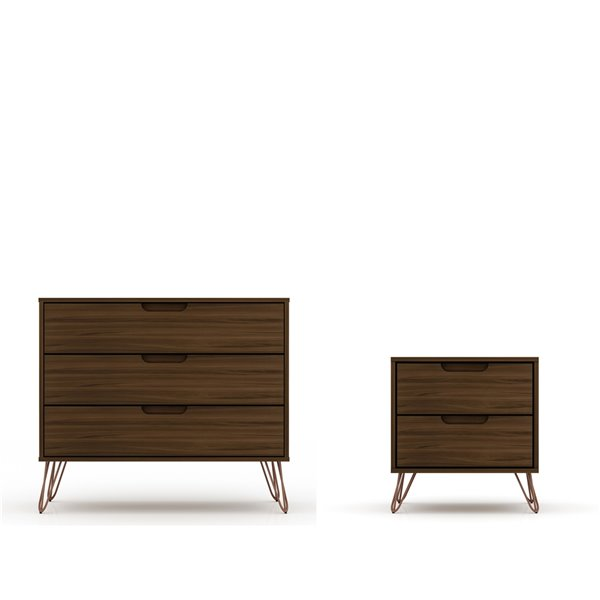 Manhattan Comfort Rockefeller Dresser and Nightstand Set - 28.86-in - Brown