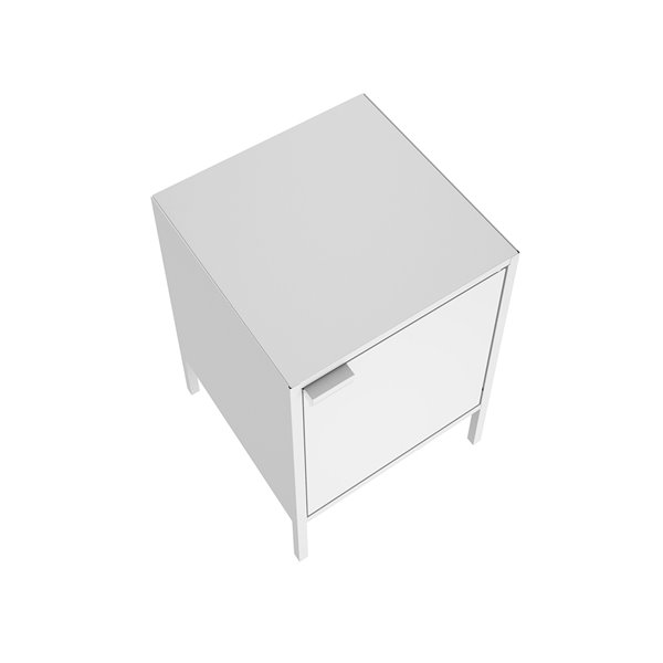 Manhattan Comfort Smart Square End Table - 13.77-in x 20.07-in - White