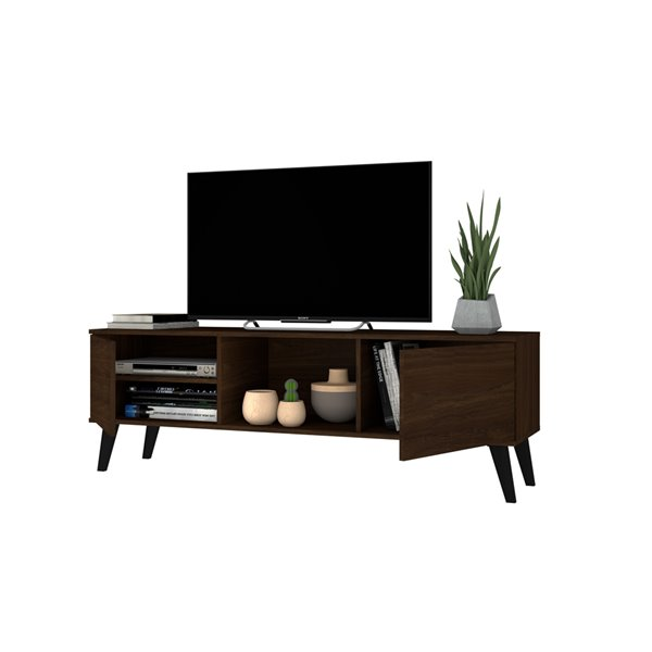 Manhattan Comfort Doyers TV Stand - 62.2-in - Nut Brown
