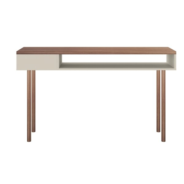 Manhattan Comfort Windsor Console Accent Table - 47.24-in - Off-White/Natural Brown