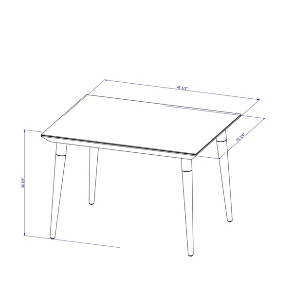 Manhattan Comfort Utopia Dining Table - 47.24-in x 35.43-in - Glossy White