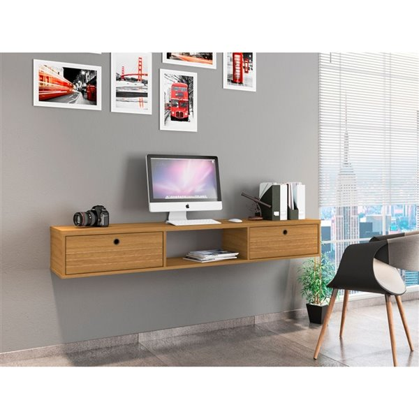Manhattan Comfort Liberty Floating Office Desk - 62.99-in - Cinnamon Brown