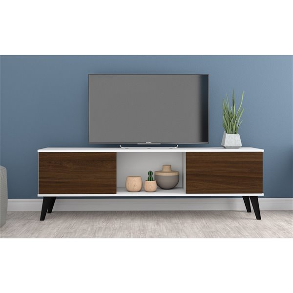 Manhattan Comfort Doyers TV Stand - 62.2-in - White and Nut Brown