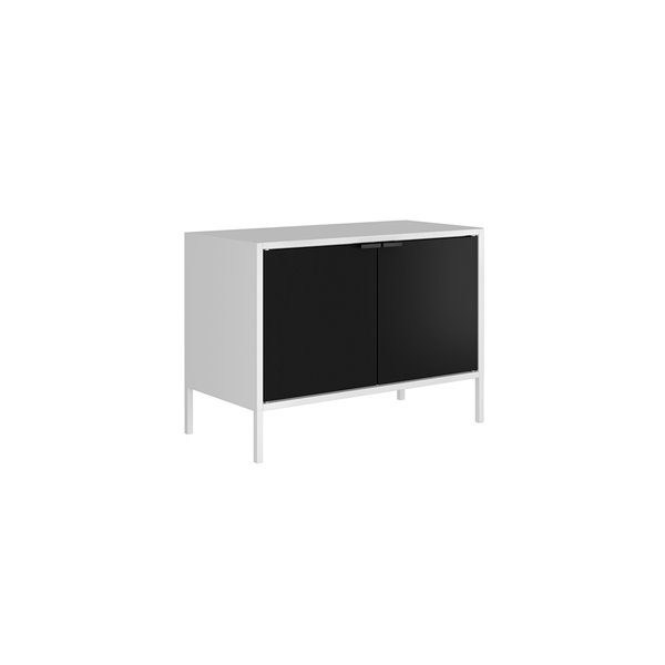 Manhattan Comfort Smart TV Stand Cabinet - 27.55-in - White and Black