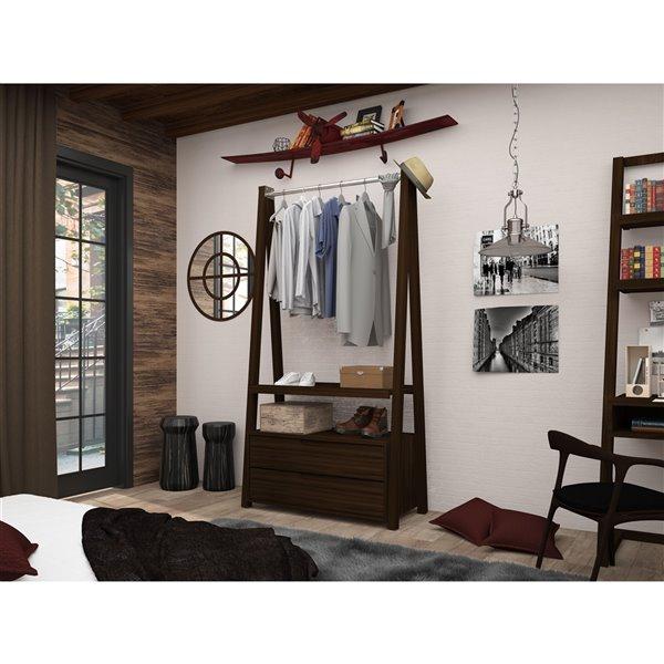 Manhattan Comfort Rockefeller Open Wardrobe Armoire - 38.62-in x 71.42-in - Brown
