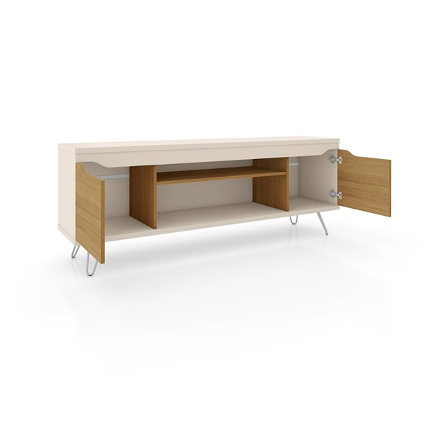 Manhattan Comfort Baxter and Liberty TV Stand and Panel - 62.99-in - Off-White and Cinnamon Brown