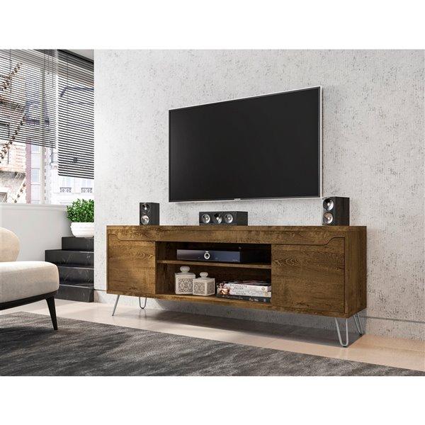 Manhattan Comfort Baxter TV Stand - 62.99-in - Rustic Brown