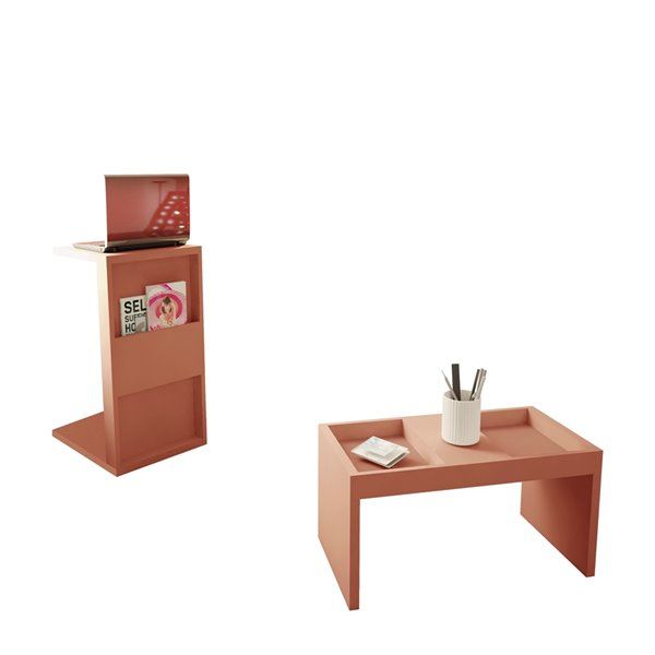 Manhattan Comfort Marine Rectangular End Table - 14.17-in x 26.77-in - Pink