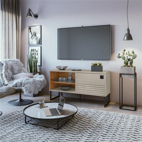 Manhattan Comfort Loft TV Stand - 47.24-in - Off-White and Wood