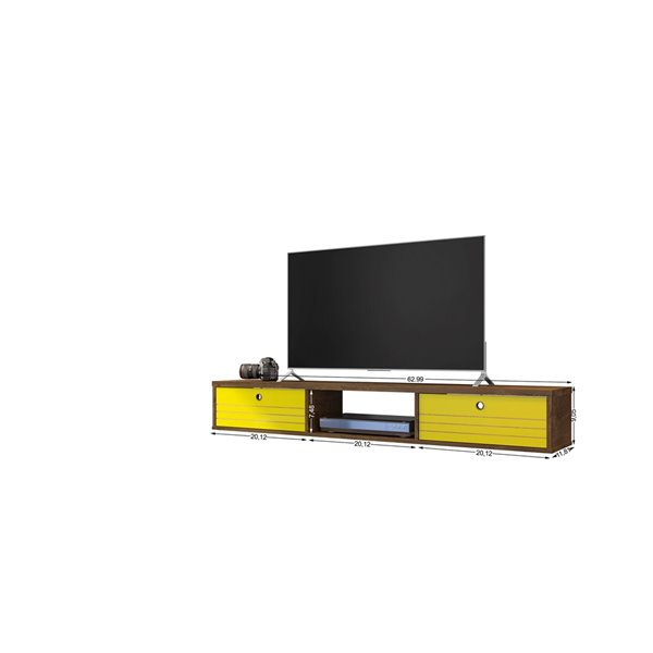 Manhattan Comfort Liberty Entertainment Center- 62.99-in - Rustic Brown and Yellow