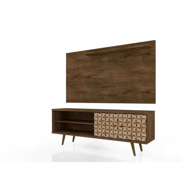 Manhattan Comfort Liberty TV Stand and Panel - Metal Legs - 62.99-in - Rustic Brown