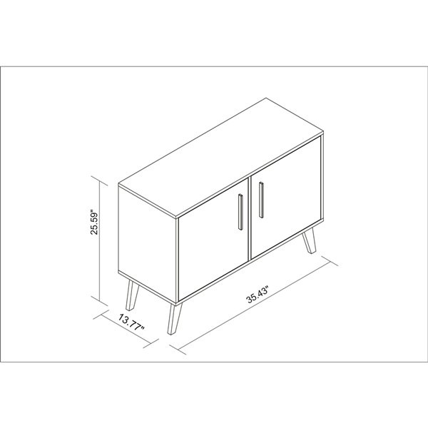 Manhattan Comfort Amsterdam Rectangular End Table - 35.43-in x 27.36-in - White