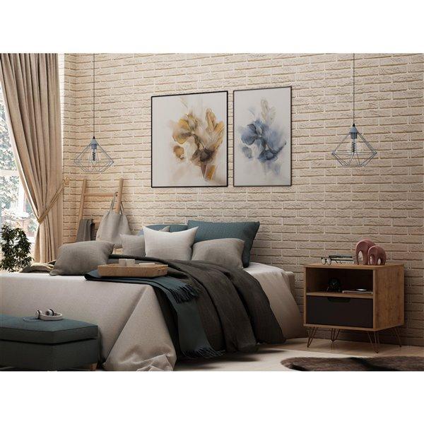 Manhattan Comfort Rockefeller 1.0 Nightstand - 21.65-in - Natural Brown and Grey
