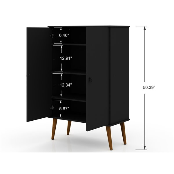 Manhattan Comfort Tribeca Accent Cabinet - 35.43-in x 50-in - Black