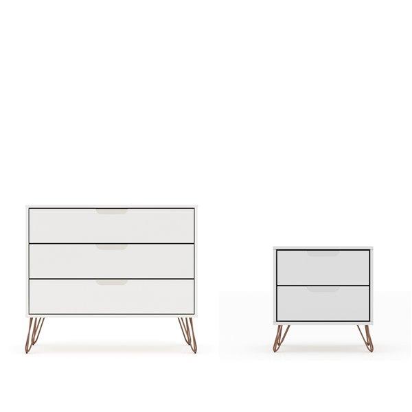 Manhattan Comfort Rockefeller Dresser and Nightstand Set - 28.86-in - White