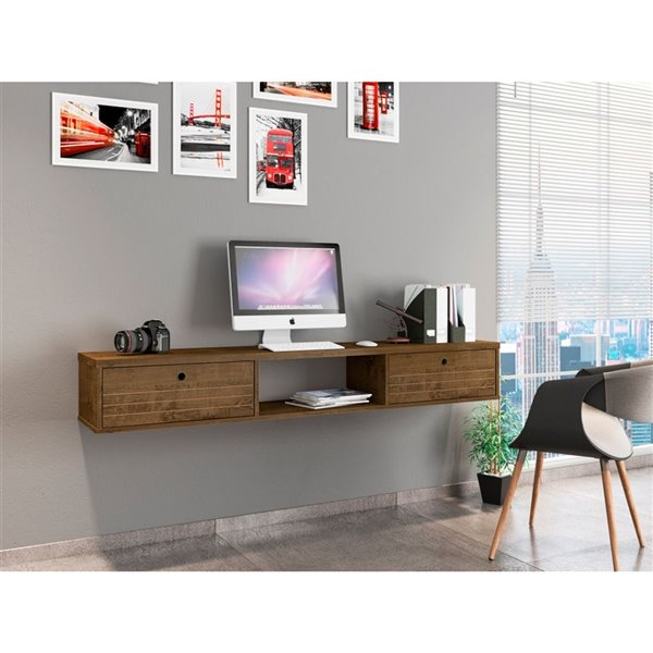 Manhattan Comfort Liberty Floating Office Desk - 62.99-in - Rustic Brown