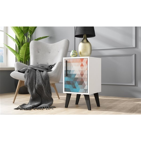 Manhattan Comfort Amsterdam Square End Table - 13-in x 23.03-in - White and Red