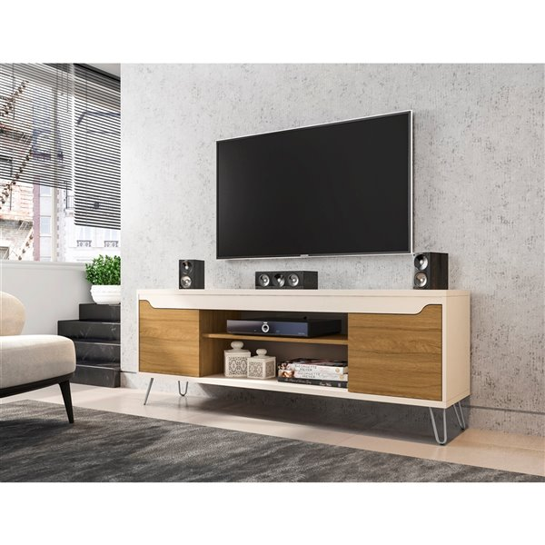 Manhattan Comfort Baxter TV Stand - 62.99-in - Off-White and Cinnamon Brown