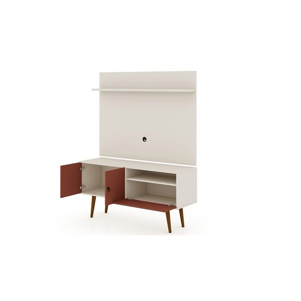 Manhattan Comfort Tribeca TV Stand and Panel - 53.94-in - Off-White and Terra Orange Pink