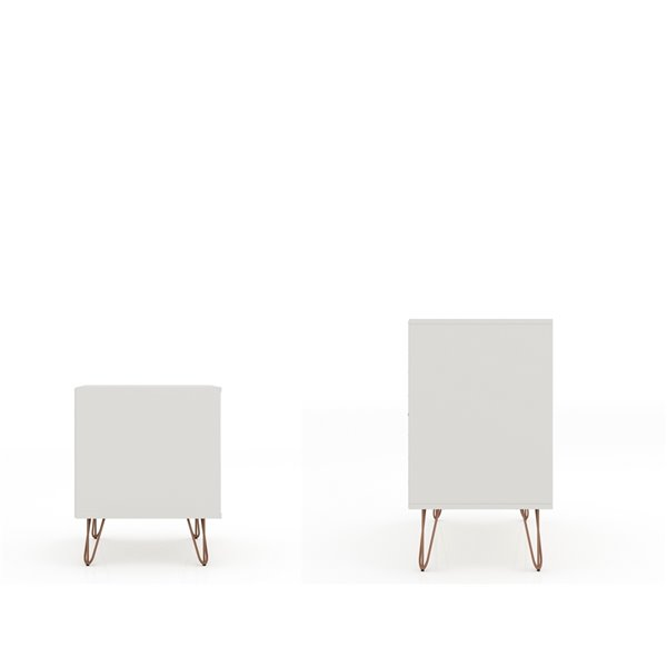 Manhattan Comfort Rockefeller Dresser and Nightstand Set - 28.86-in - Off-White and Natural