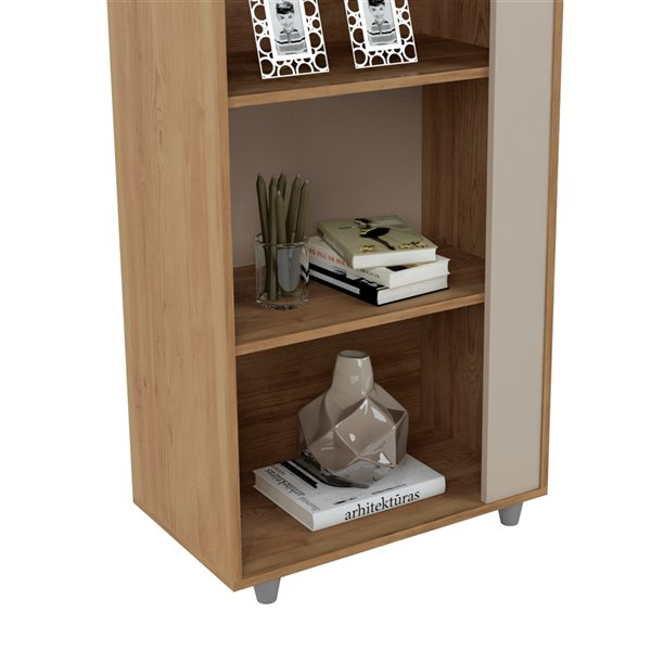 Manhattan Comfort Cypress Bookcase - 47.24-in - Natural/Off White - Set of 2
