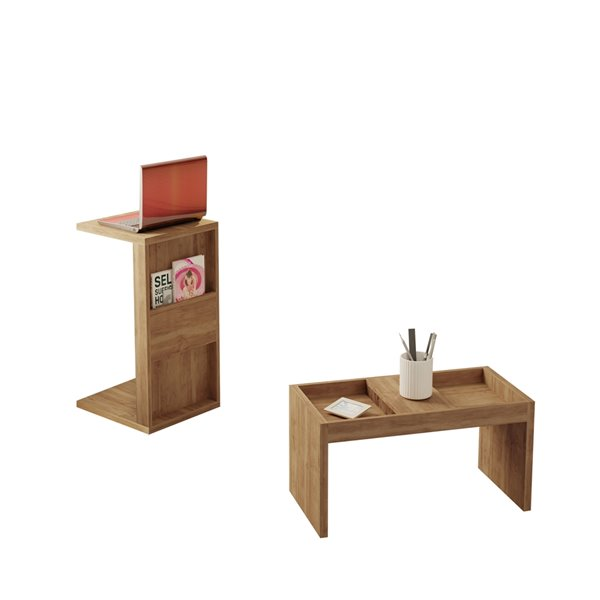 Manhattan Comfort Marine Rectangular End Table - 14.17-in x 26.77-in - Natural Brown