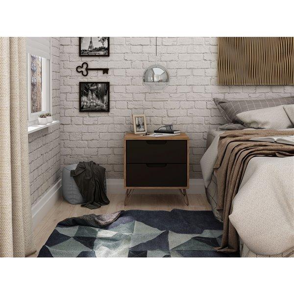 Manhattan Comfort Rockefeller 2.0 Nightstand - 21.65-in - Natural Brown and Grey
