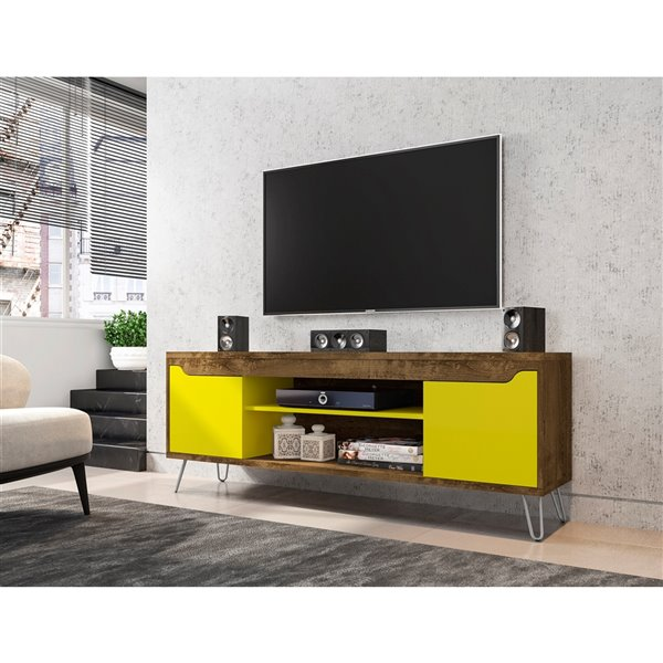 Manhattan Comfort Baxter TV Stand - 62.99-in - Rustic Brown and Yellow