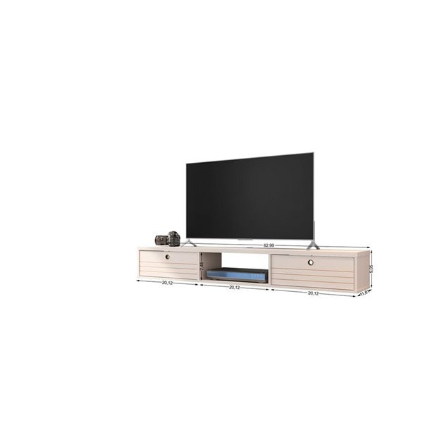 Manhattan Comfort Liberty Floating Office Desk - 62.99-in - Off-White