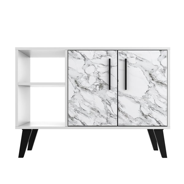 """Amsterdam 35.43"""" Sideboard in White Marble"""