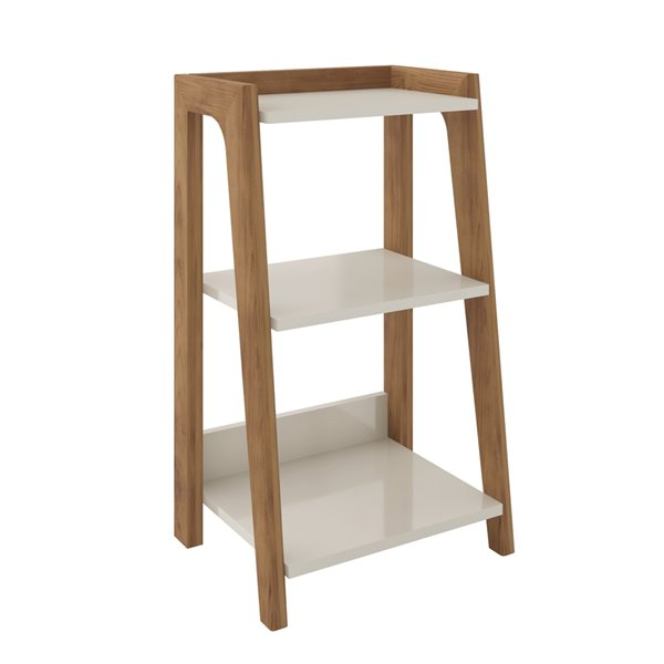 Manhattan Comfort Gowanus Rectangular End Table - 15.75-in x 26.77-in - Off-White/Natural Brown