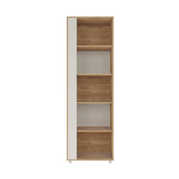 Manhattan Comfort Cypress Bookcase - 23.62-in - Natural/Off White