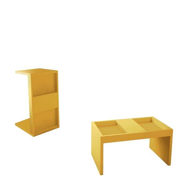 Manhattan Comfort Accent Table Set - Matte Yellow - Set of 2