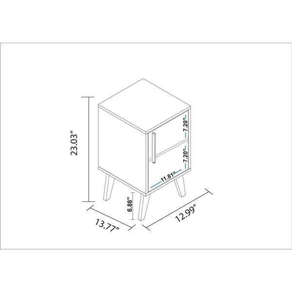 Manhattan Comfort Amsterdam Square End Table - 13-in x 23.03-in - White Marble