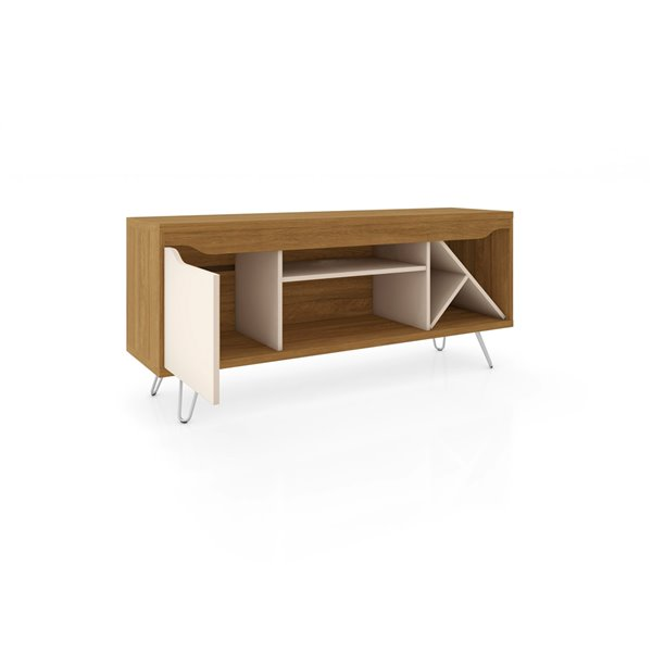 Manhattan Comfort Baxter TV Stand - 53.54-in - Cinnamon and Off-White