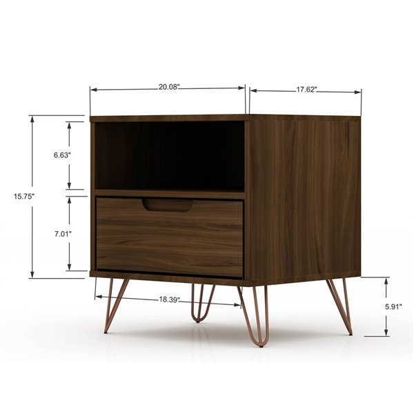 Manhattan Comfort Rockefeller 1.0 Nightstand - 21.65-in - Brown
