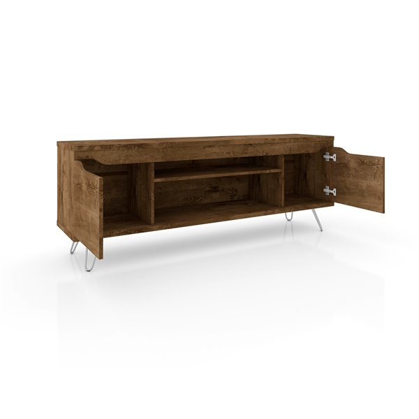 Manhattan Comfort Baxter and Liberty TV Stand and Panel - 62.99-in - Rustic Brown
