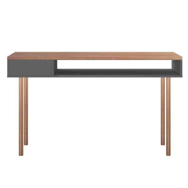 Manhattan Comfort Windsor Console Accent Table - 47.24-in - Grey/Natural Brown