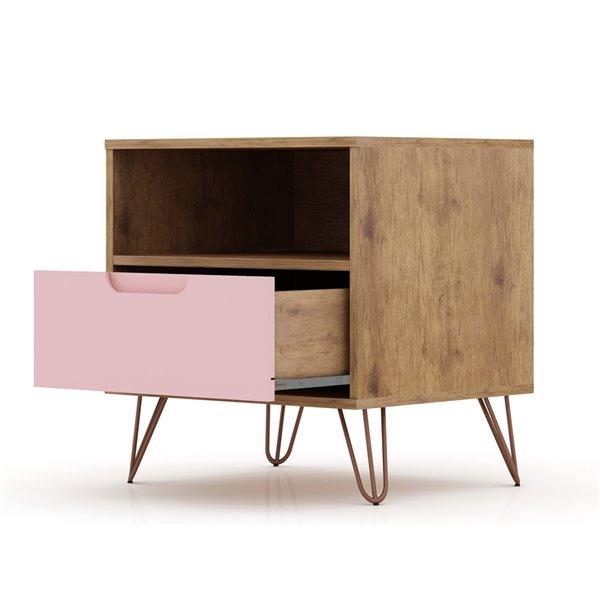 Manhattan Comfort Rockefeller 1.0 Nightstand - 21.65-in - Natural Brown and Pink