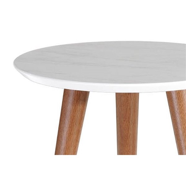 Manhattan Comfort Moore Round End Table - 17.32-in x 20.07-in - White