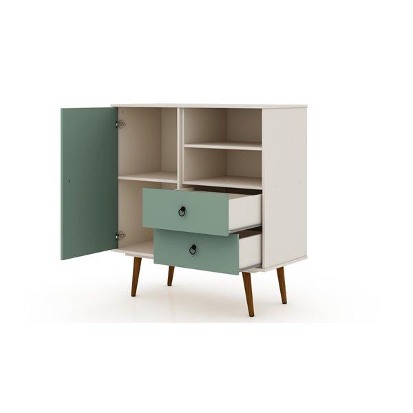 Manhattan Comfort Tribeca Dresser - 40.75-in x 43.7-in - Off-White/Green Mint