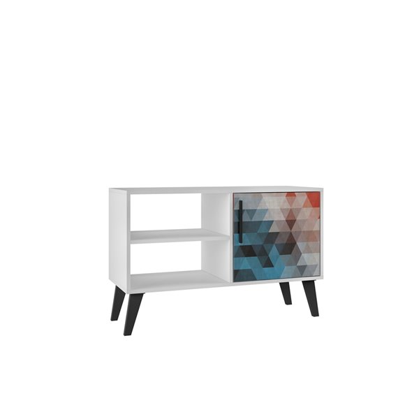 Manhattan Comfort Amsterdam TV Stand - 35.43-in - White, Red and Blue