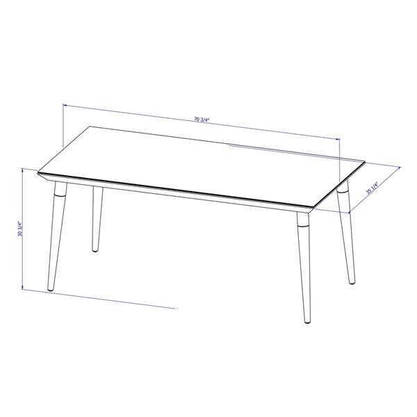 Manhattan Comfort Utopia Dining Table - 70.86-in x 35.43-in - Glossy White