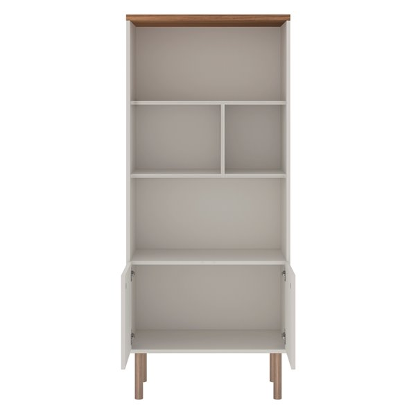 Manhattan Comfort Windsor Display Bookcase Cabinet - 26-77-in - Off-White/Natural