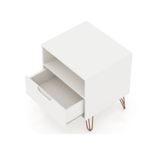 Manhattan Comfort Rockefeller 1.0 Nightstand - 21.65-in - White