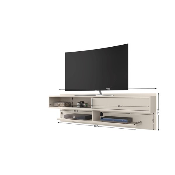 Manhattan Comfort Astor Floating Entertainment Center - 70.86-in - Off-White