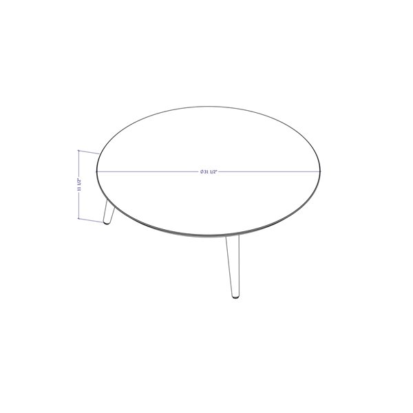 Manhattan Comfort Moore Coffee Table - 31.49-in x 11.81-in - Glossy White