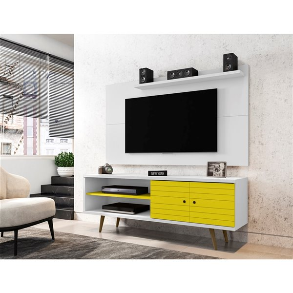 Manhattan Comfort Liberty TV Stand and Panel - 62.99-in - White and Yellow