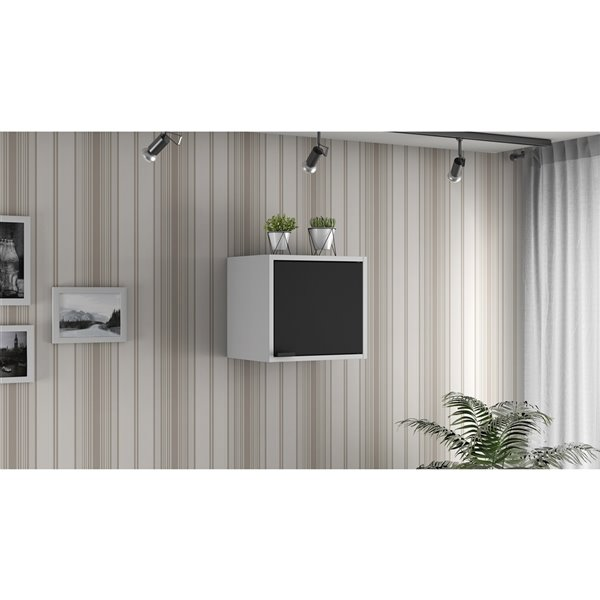 Manhattan Comfort Smart Floating Cabinet and Display Shelf - 13.77-in - White/Black - 4-Piece